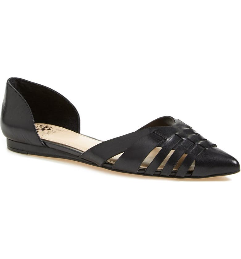 VINCE CAMUTO 'Hallie' Woven Leather d'Orsay Flat, Main, color, 001