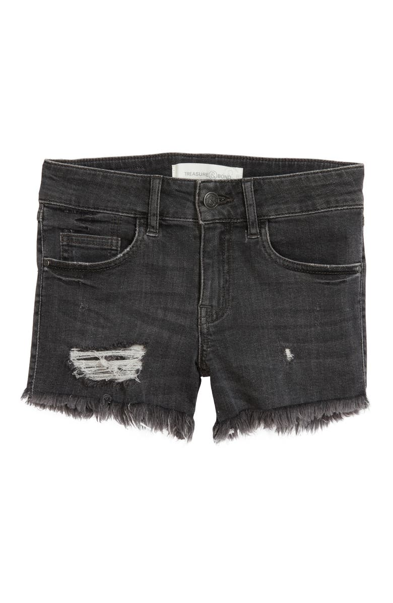 TREASURE & BOND Kids' Distressed Cutoff Denim Shorts, Main, color, BLACK VINTAGE WASH