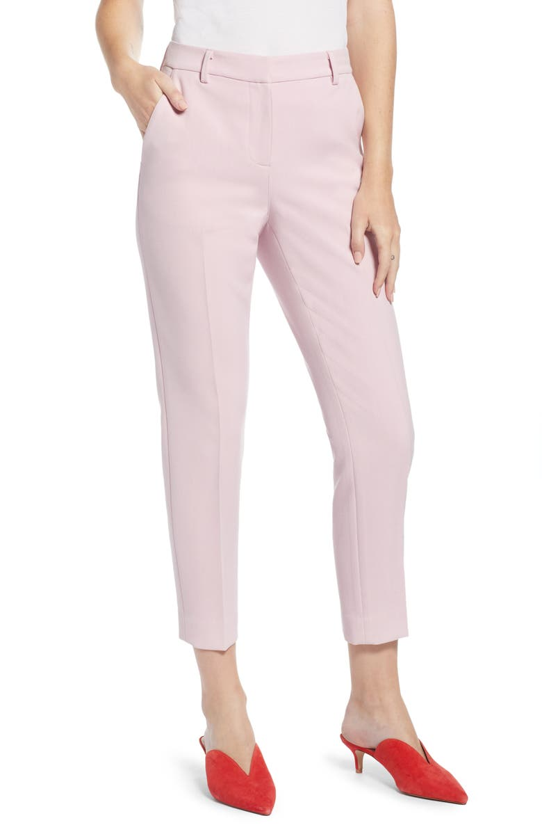 SOMETHING NAVY Flat Front Trousers, Main, color, 680