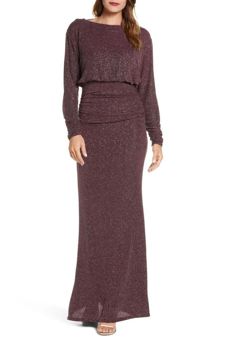 VINCE CAMUTO Cowl Back Metallic Long Sleeve Gown, Main, color, 501