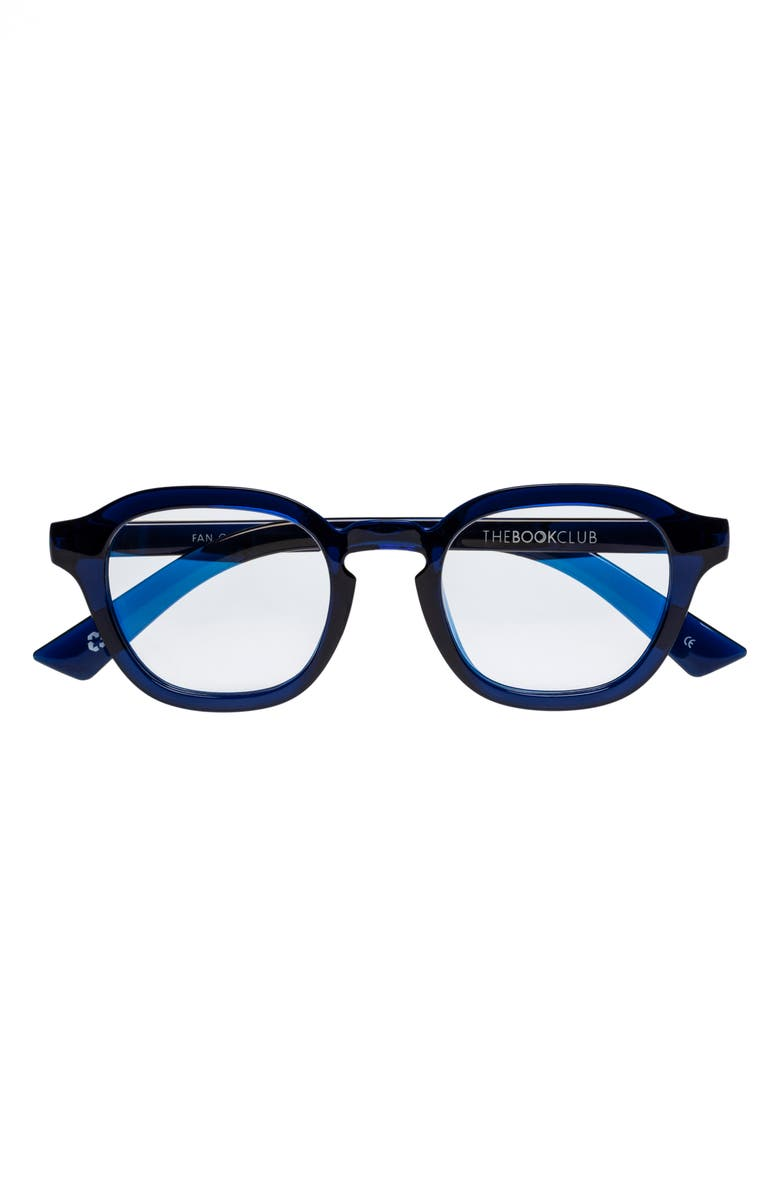 THE BOOK CLUB Fan Of Seen Labels 47mm Blue Light Blocking Reading Glasses, Main, color, INK