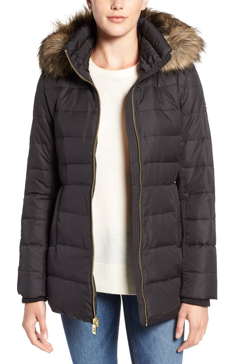 MICHAEL MICHAEL KORS Hooded Down & Feather Fill Coat with Faux Fur Trim, Main, color, BLACK