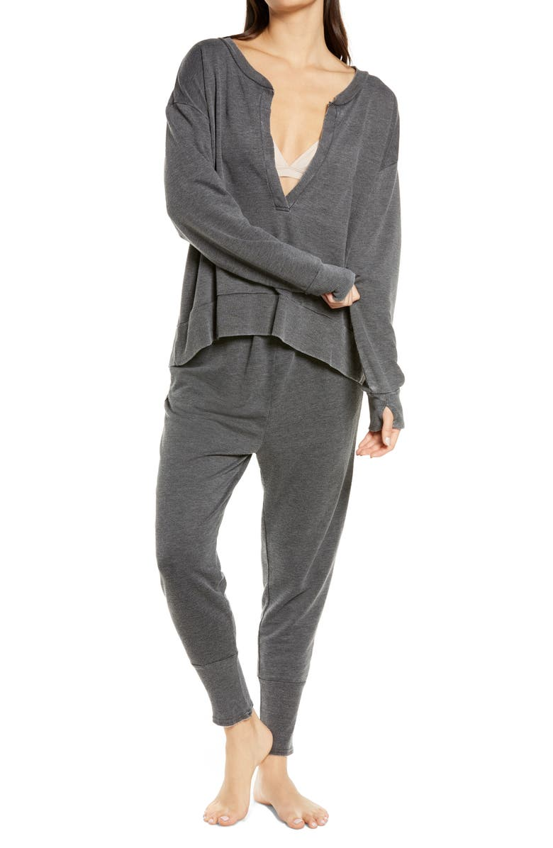 FREE PEOPLE Cozy Cool Girl Lounge Set, Main, color, BLACK