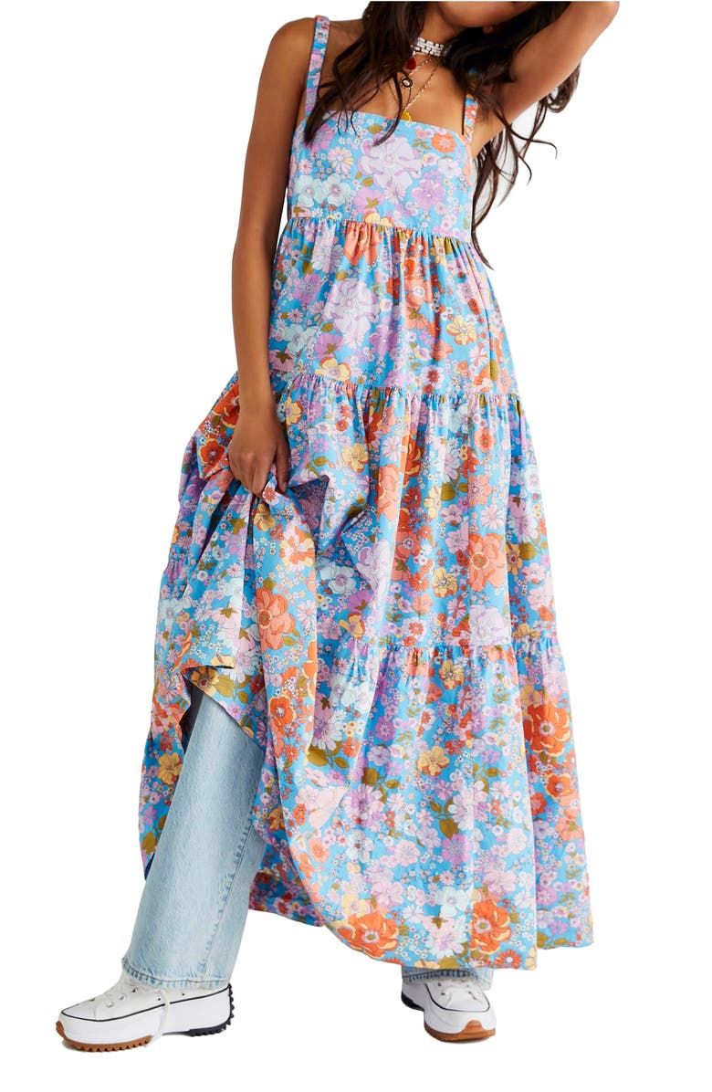 FREE PEOPLE Floral Maxi Sundress, Main, color, BLUEBELL COMBO