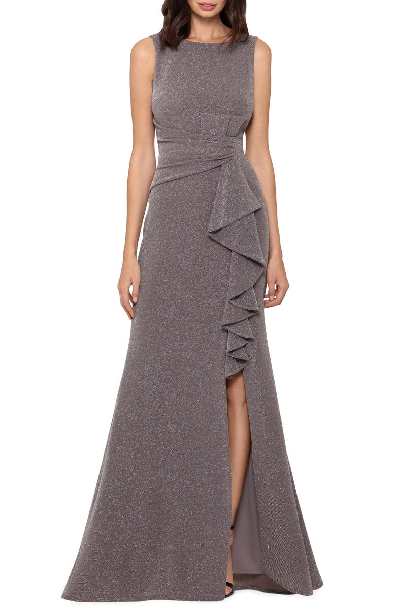BETSY & ADAM Ruffle Front Metallic Knit Gown, Main, color, 040