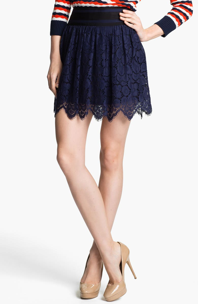MILLY Lace Miniskirt, Main, color, Navy