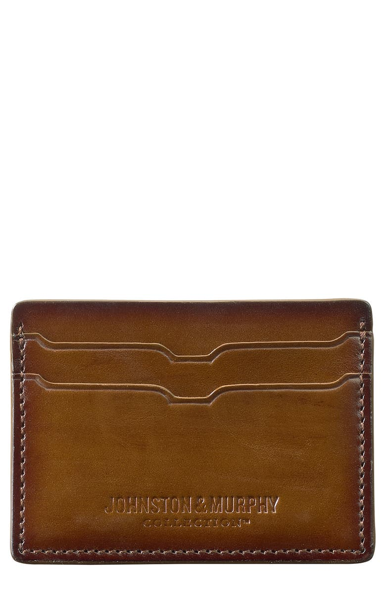 JOHNSTON & MURPHY Leather Card Case, Main, color, ANTIQUE BROWN