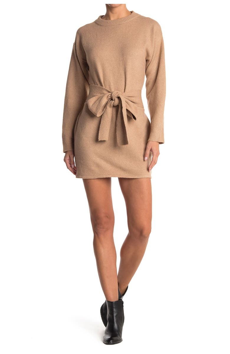 FLYING TOMATO Sweater Dress, Main, color, TAUPE