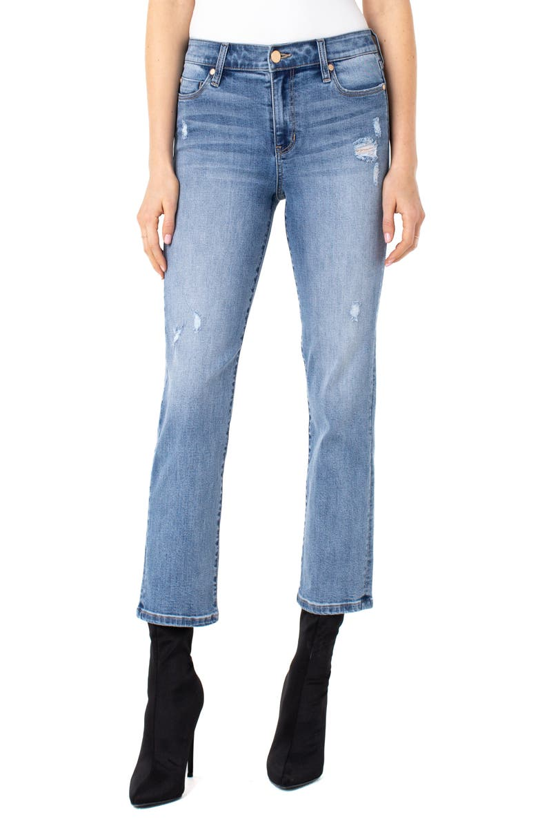 LIVERPOOL LOS ANGELES Ripped Ankle Straight Leg Jeans, Main, color, GORDON