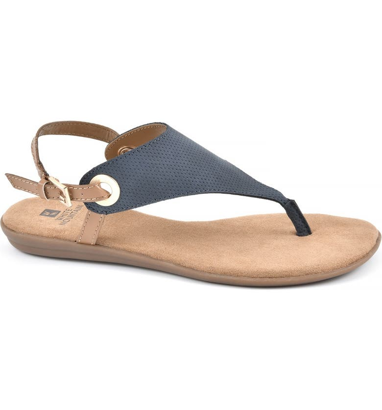 WHITE MOUNTAIN London T-Strap Sandal, Main, color, NAVY / HC SMOOTH