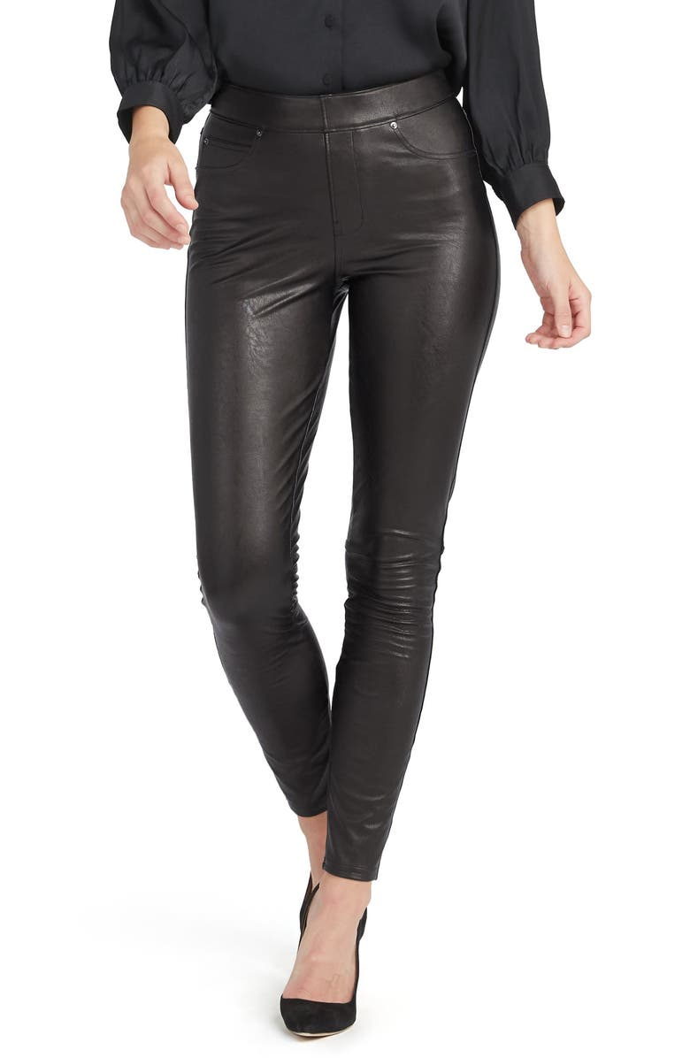 SPANX<SUP>®</SUP> Faux Leather-Like Ankle Skinny Pants, Main, color, NOIR