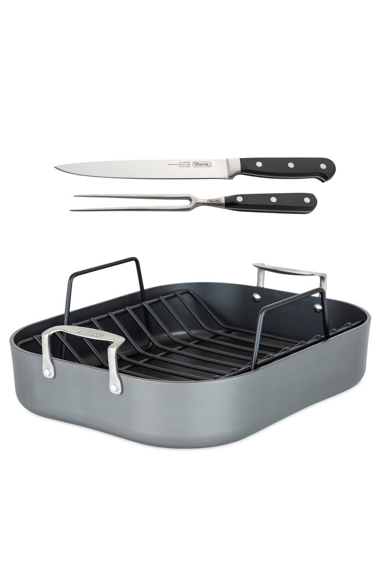 VIKING Hard Anodized Nonstick Roasting Pan with Carving Set, Main, color, ANODIZED