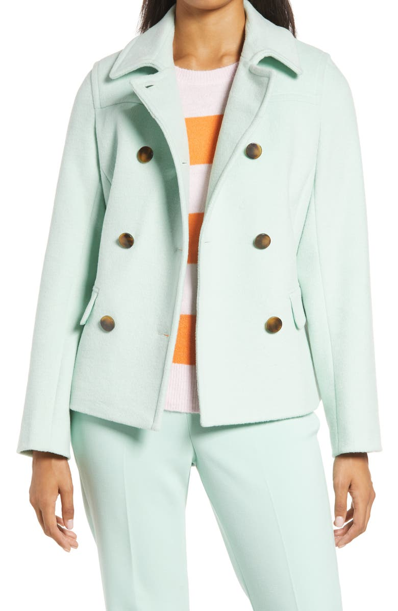 HALOGEN<SUP>®</SUP> x Atlantic-Pacific Short Double Breasted Coat, Main, color, GREEN MIST