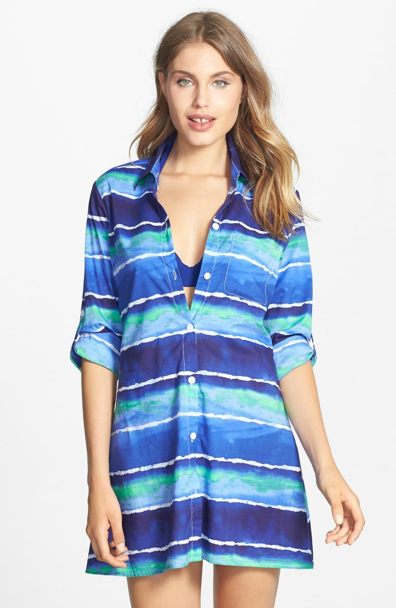 TOMMY BAHAMA 'Water Waves' High/Low Cover-Up Boyfriend Shirt, Main, color, 400