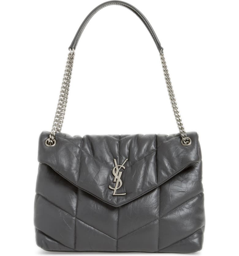SAINT LAURENT Medium Loulou Puffer Quilted Leather Crossbody Bag, Main, color, STORM