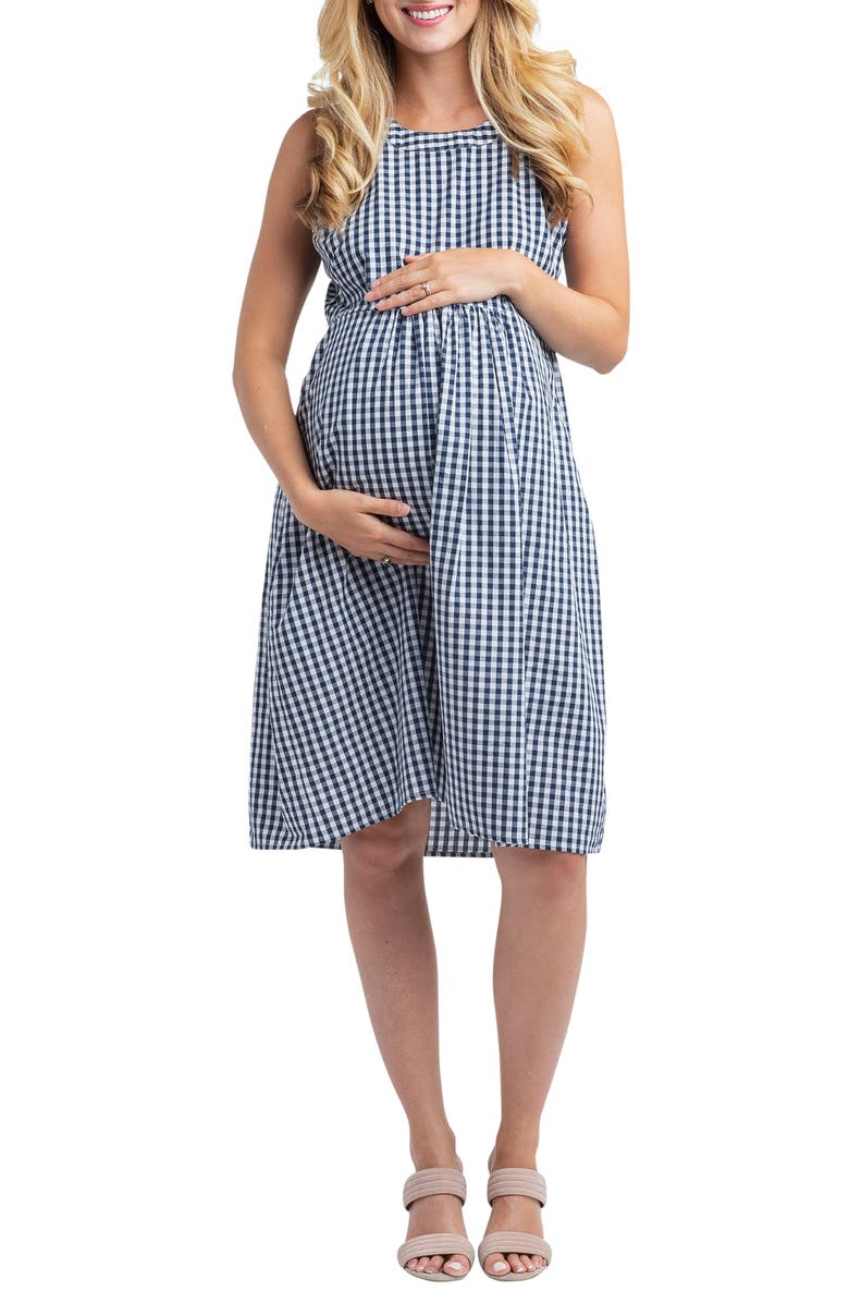 NOM MATERNITY Molly Gingham Maternity Dress, Main, color, GINGHAM