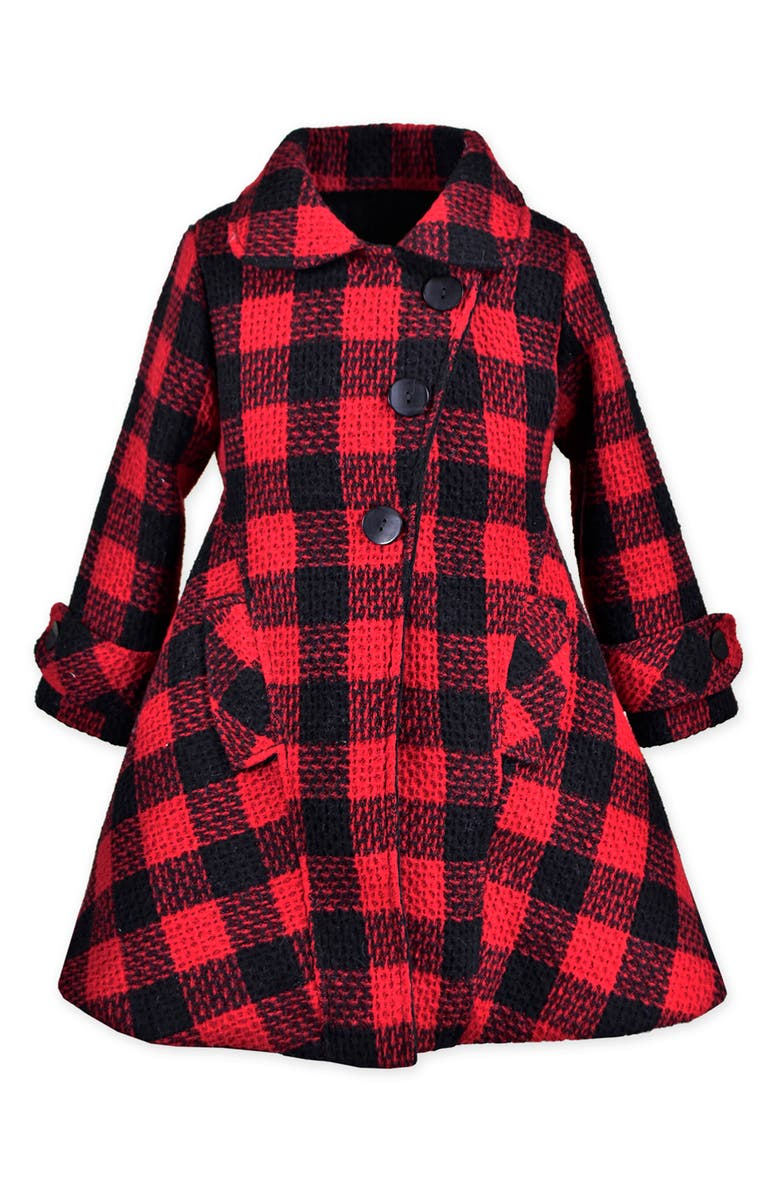 WIDGEON Check Fit & Flare Coat, Main, color, RBPS - RED BLACK PLAID