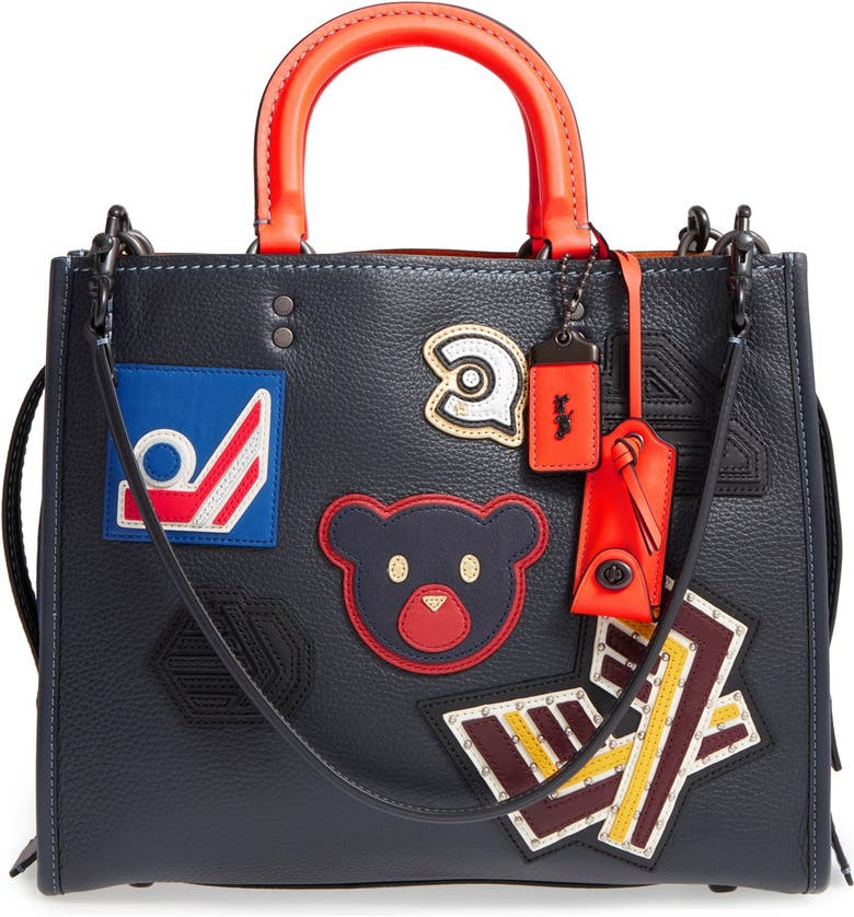 COACH 1941 'Rogue - Varsity Patches' Leather Satchel, Main, color, 400