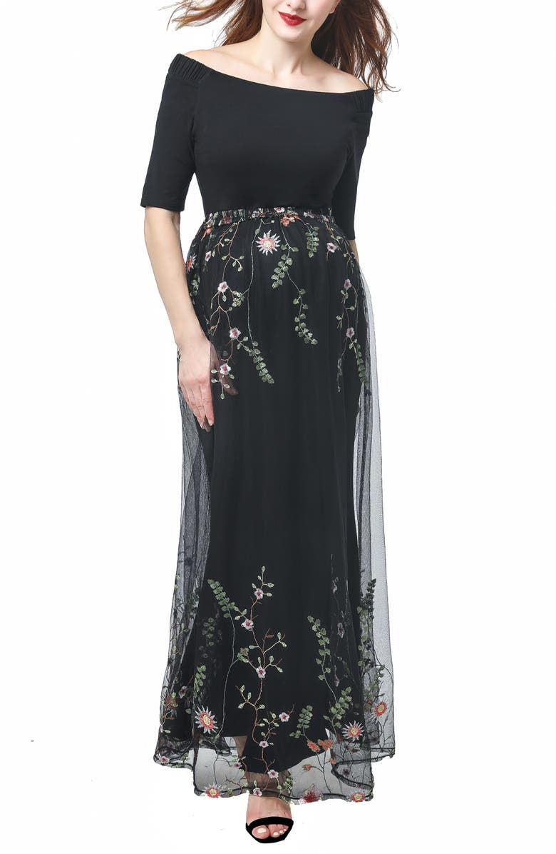 KIMI AND KAI Willow Off the Shoulder Maternity Gown, Main, color, 001