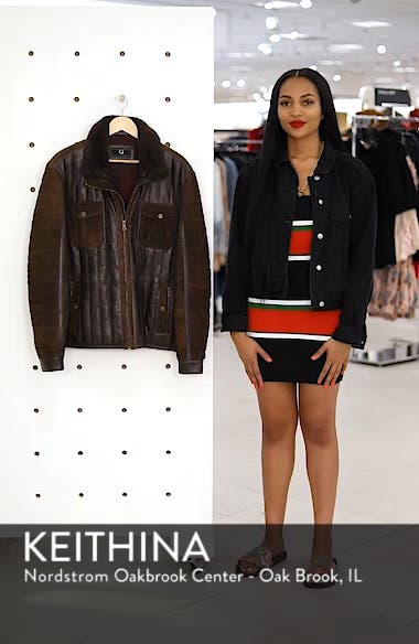 Genuine Shearling Trim Leather Bomber Jacket, sales video thumbnail