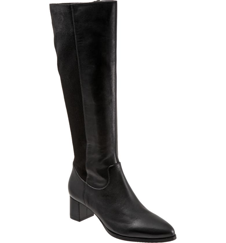 TROTTERS Kirby Knee High Boot, Main, color, BLACK LEATHER/ MICROFIBER