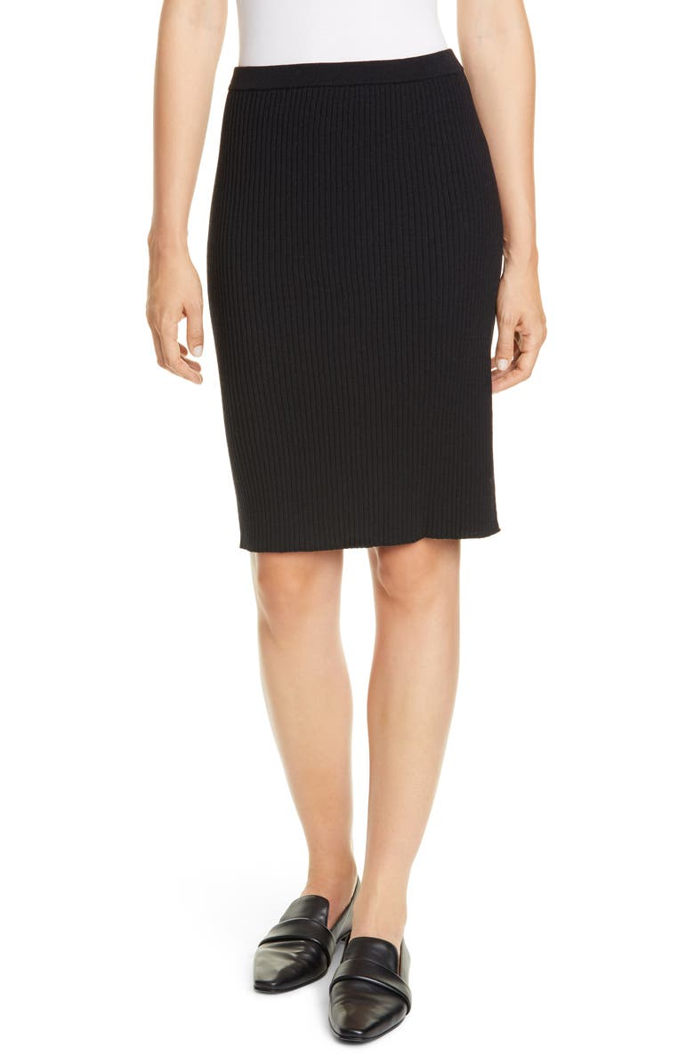 EILEEN FISHER Ribbed Wool Skirt, Main, color, 001