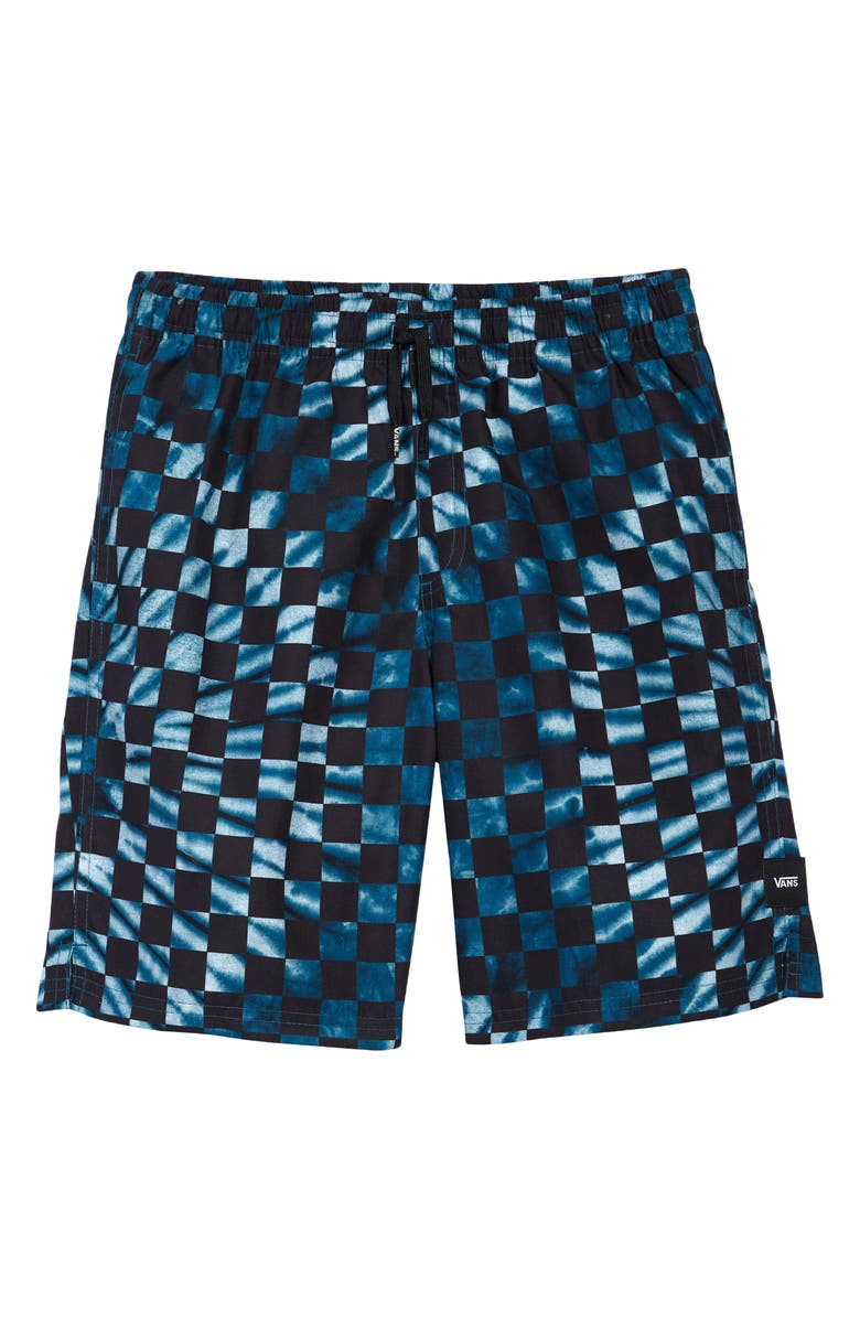 VANS Kids' Mixed Volley Checkerboard Swim Trunks, Main, color, MOROCCAN BLUE