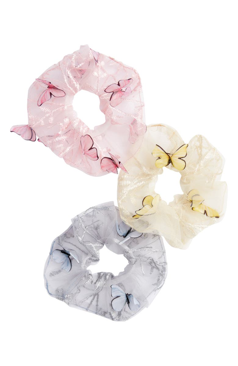 BP. 3-Pack Assorted Butterfly Mesh Scrunchies, Main, color, 420