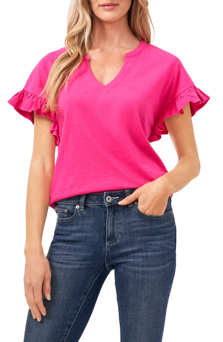 CECE Ruffle Sleeve Knit Top, Main, color, BRIGHT ROSE