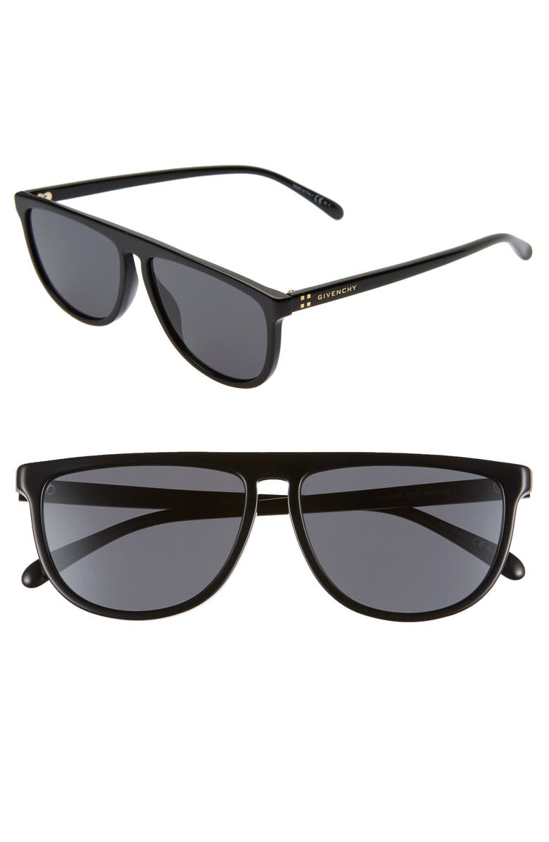 GIVENCHY 57mm Flat Top Sunglasses, Main, color, 001