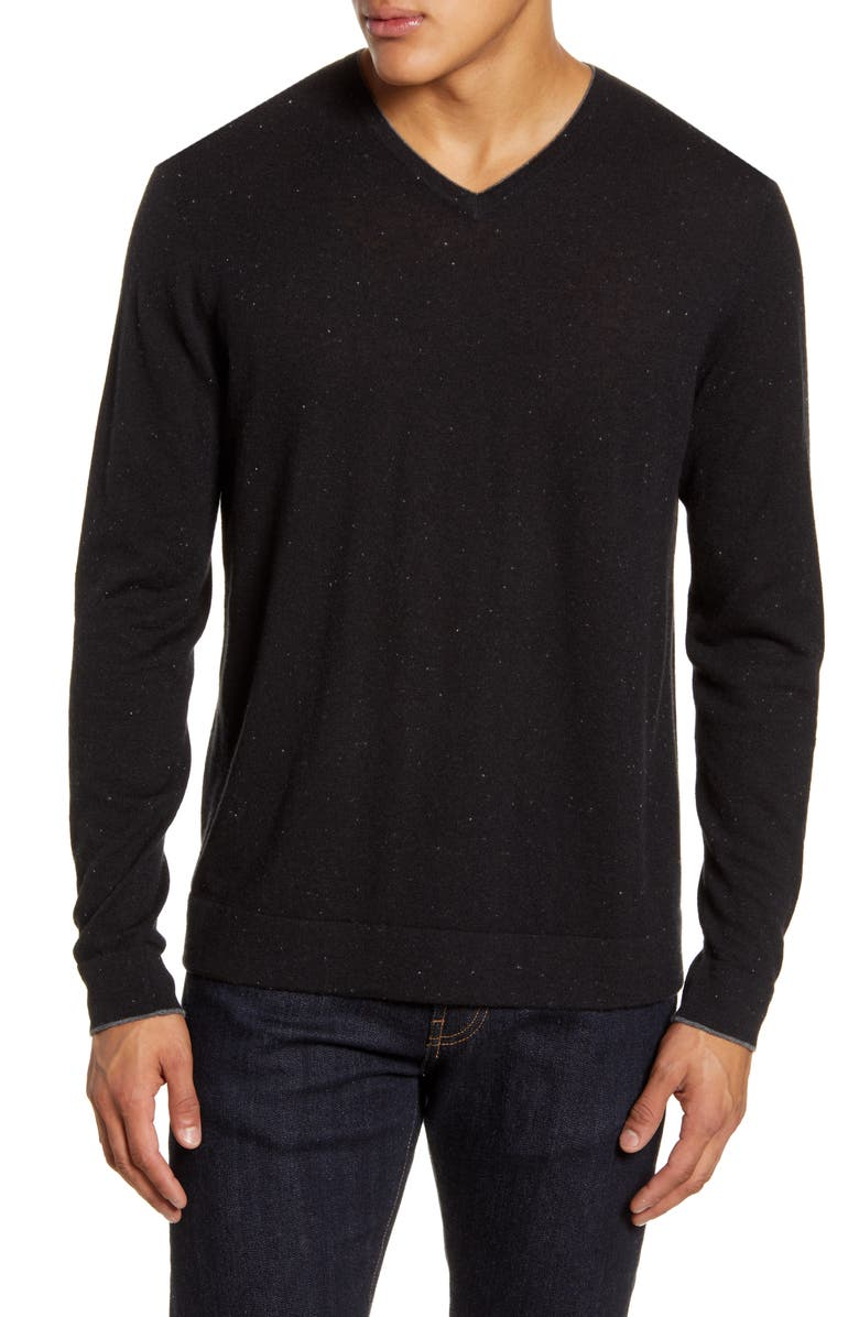NORDSTROM SIGNATURE Cashmere V-Neck Sweater, Main, color, 001