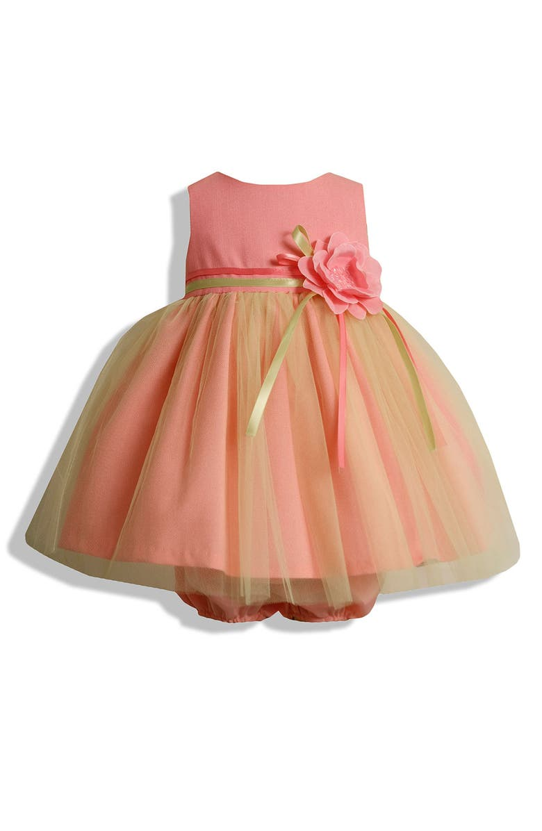 IRIS & IVY Tulle Overlay Dress, Main, color, CORAL