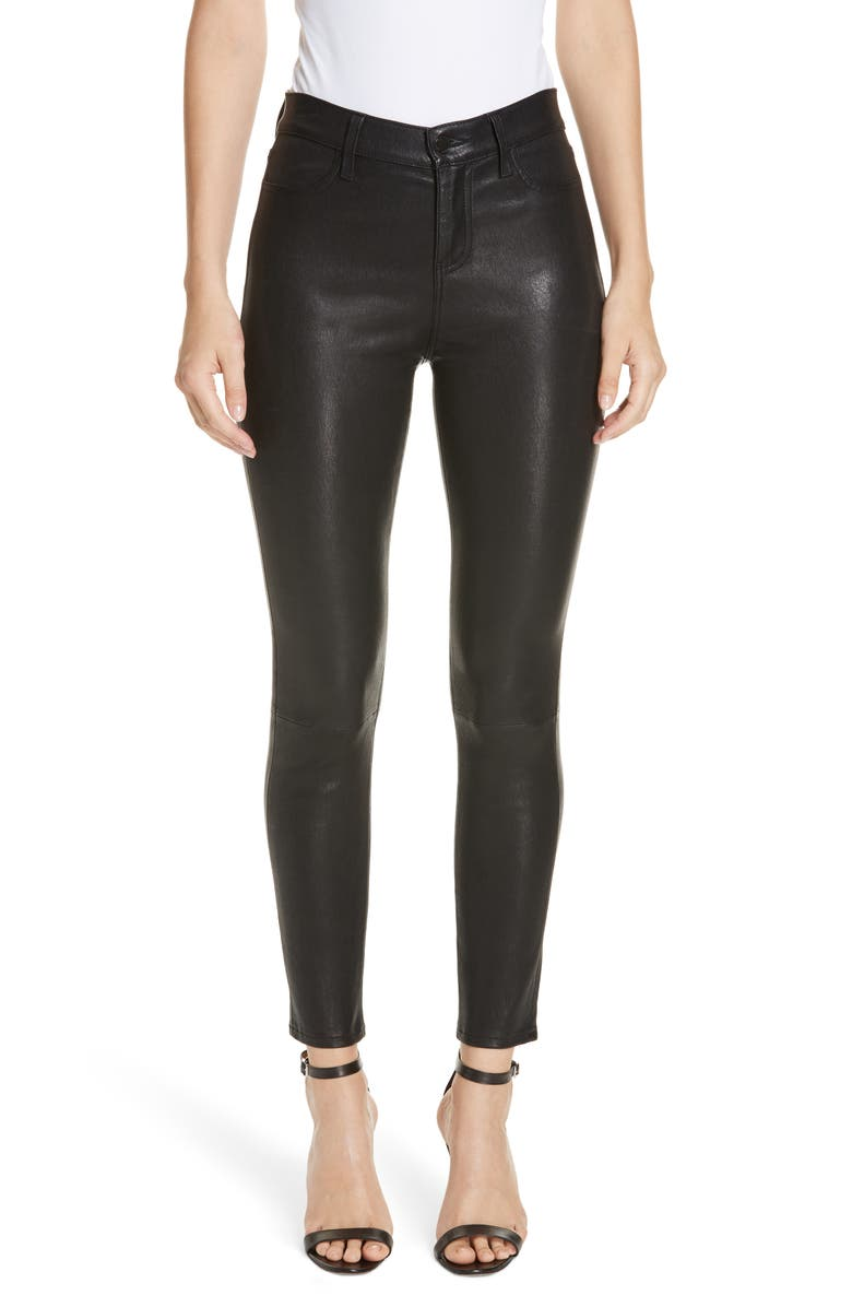 L'AGENCE Adelaide High Waist Crop Leather Jeans, Main, color, NOIR