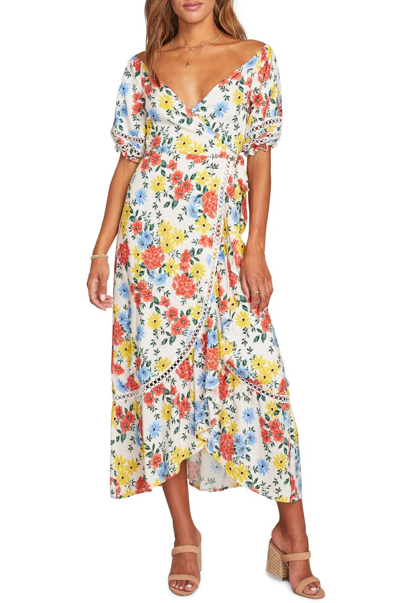 LOST + WANDER Center of Attention Floral Wrap Dress, Main, color, RED ORANGE FLORAL MULTI