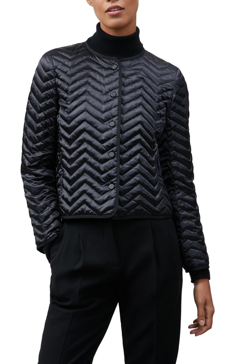 LAFAYETTE 148 NEW YORK Kade Chevron Quilted Down Jacket, Main, color, 001