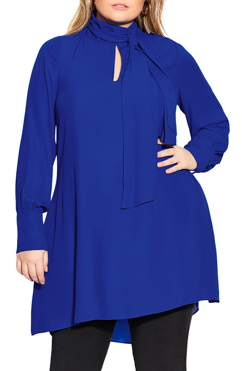 CITY CHIC Bow Neck Dress, Main, color, LAPIS