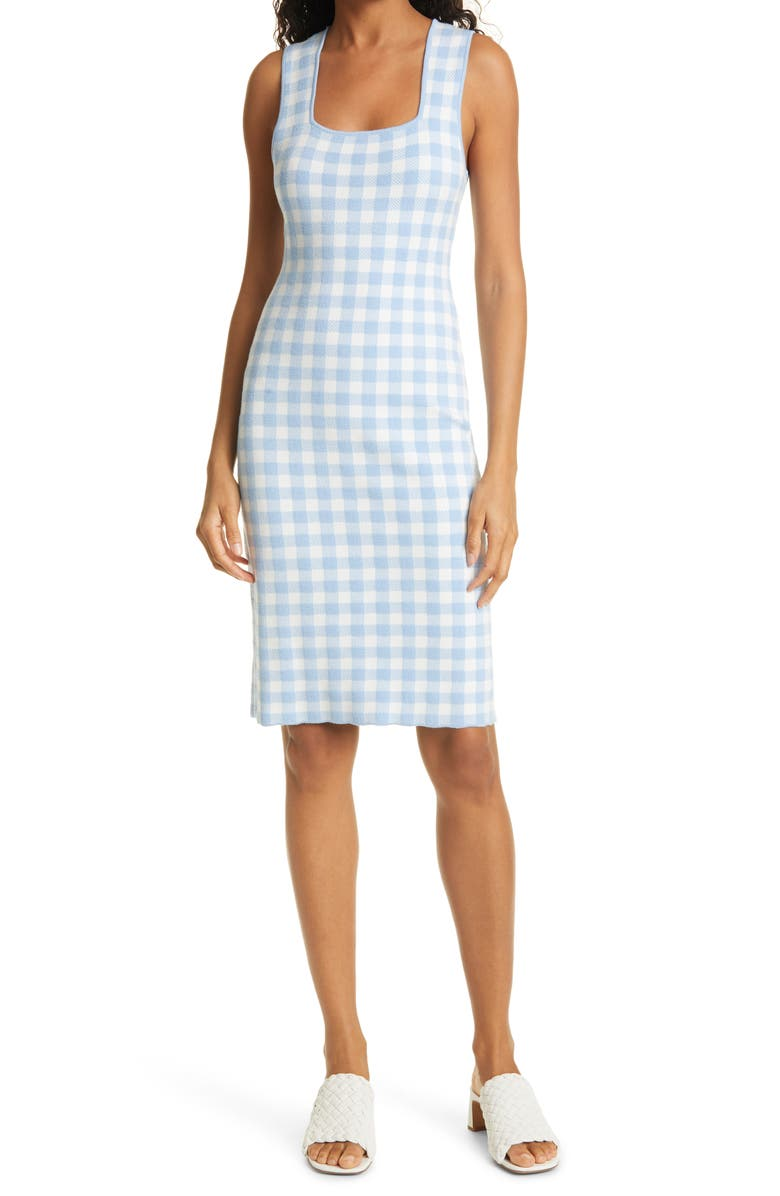 STAUD Dorinne Gingham Check Sleeveless Sweater Dress, Main, color, 450