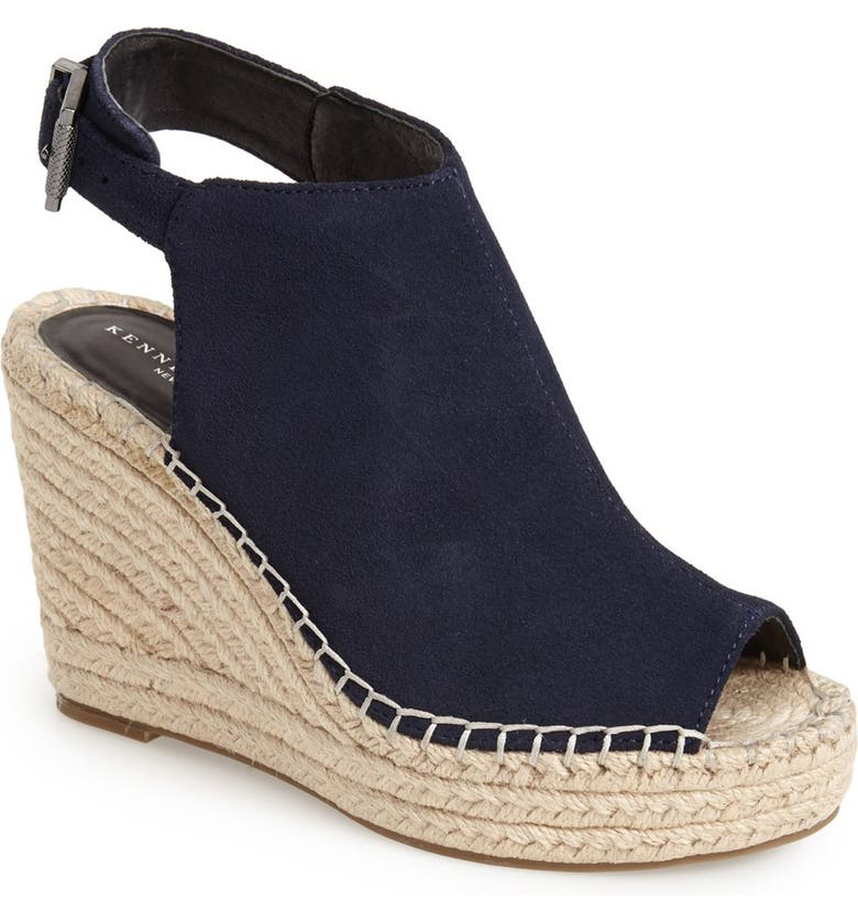 KENNETH COLE NEW YORK 'Olivia' Espadrille Wedge Sandal, Main, color, NAVY SUEDE