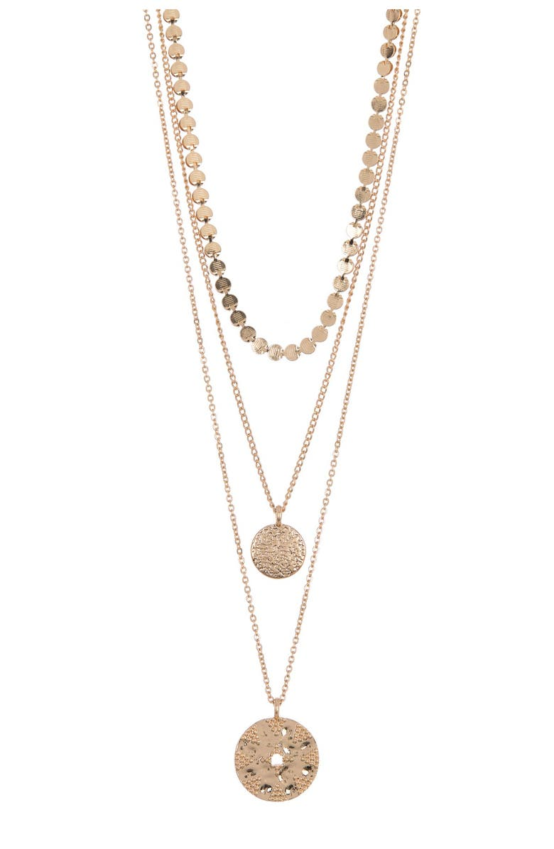 MELROSE AND MARKET Triple Layer Coin Pendant Necklace, Main, color, GOLD