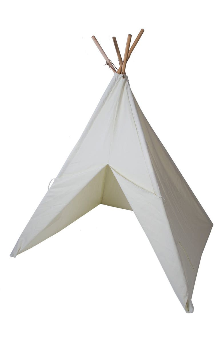 PACIFIC PLAY TENTS Cotton Canvas Tent with Paint Set, Main, color, BEIGE