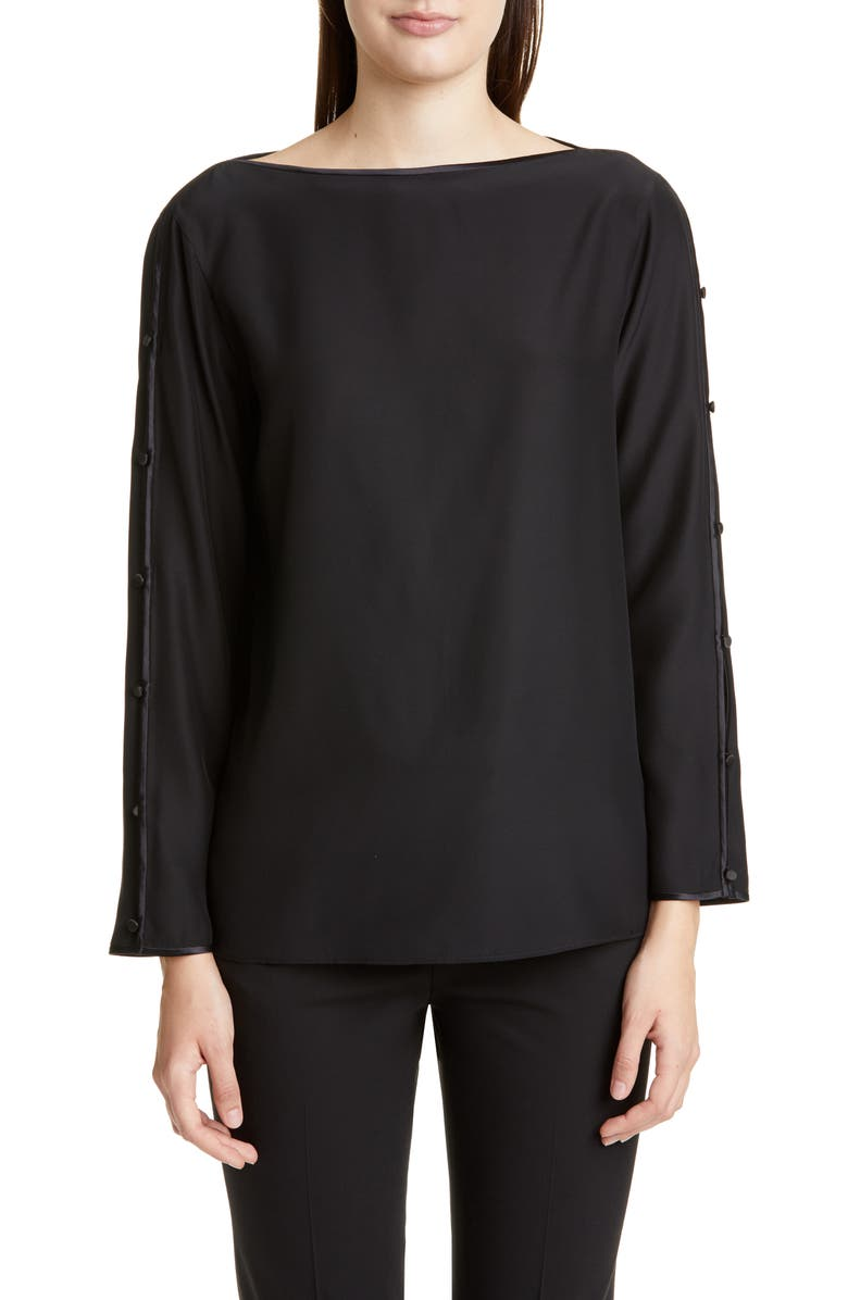 LAFAYETTE 148 NEW YORK Georgina Button Sleeve Silk Blouse, Main, color, 001