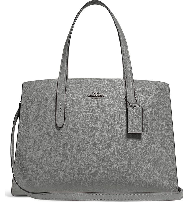 COACH Charlie Leather Tote, Main, color, 039