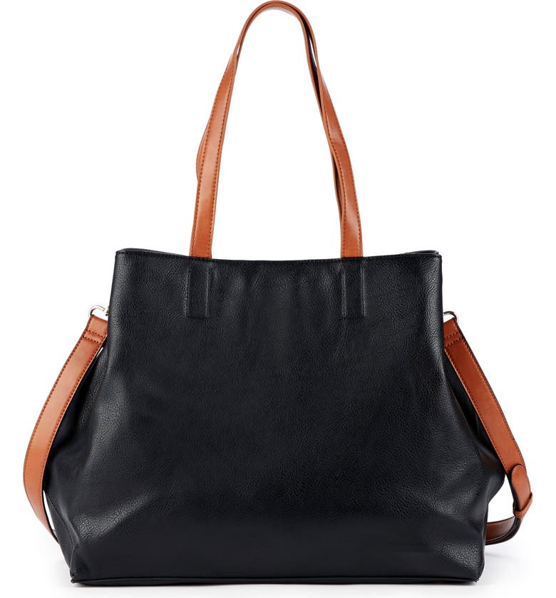 SOLE SOCIETY Hester Faux Leather Tote, Main, color, BLACK/ COGNAC
