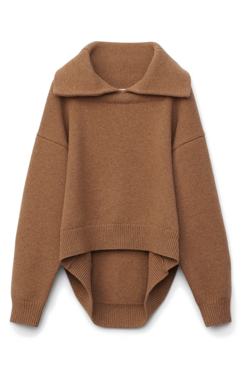 ALEXANDER WANG Drape Back Wool Blend Sweater, Main, color, NEUTRAL