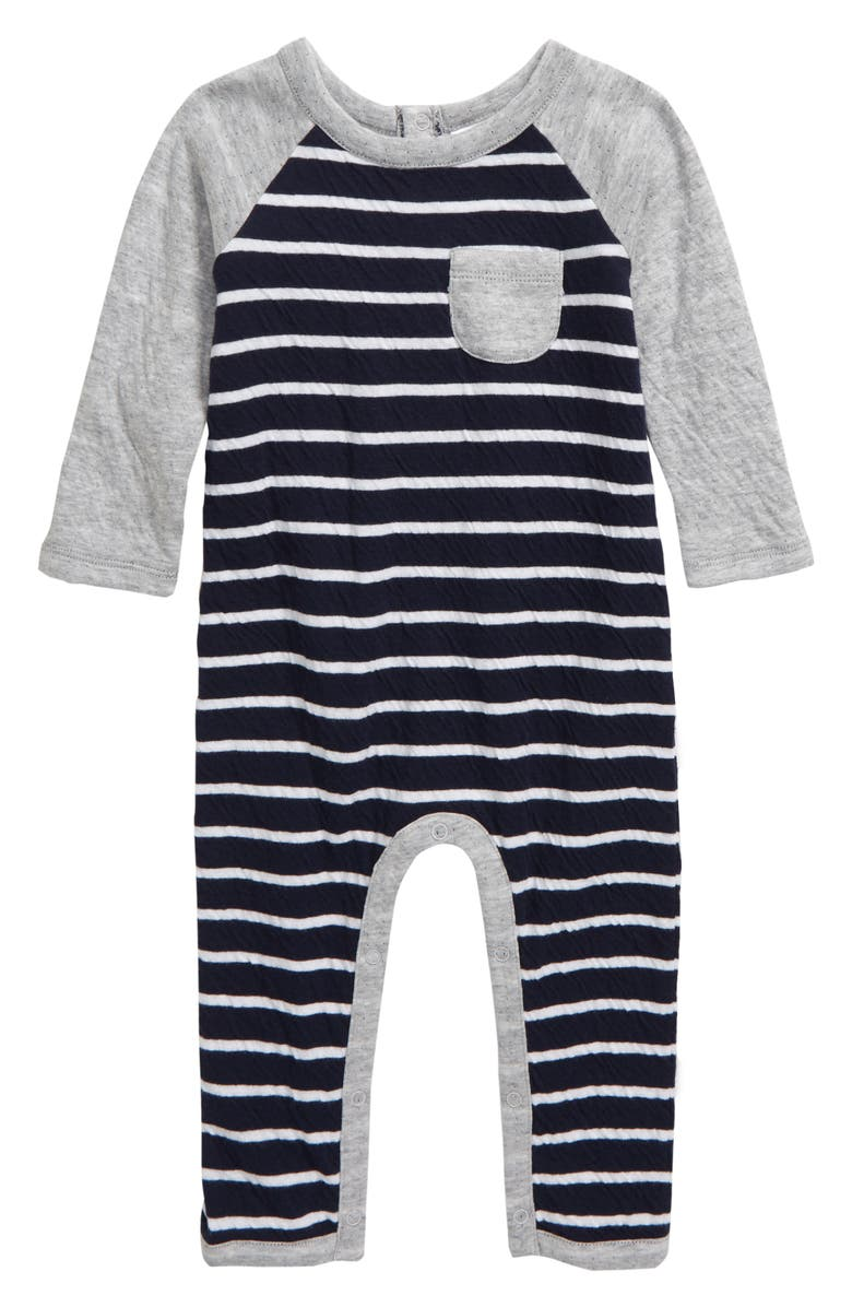 NORDSTROM BABY Stripe Raglan Romper, Main, color, 410