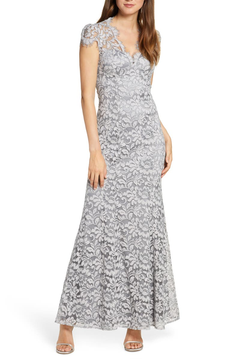 ELIZA J Embroidered Lace Trumpet Gown, Main, color, 020