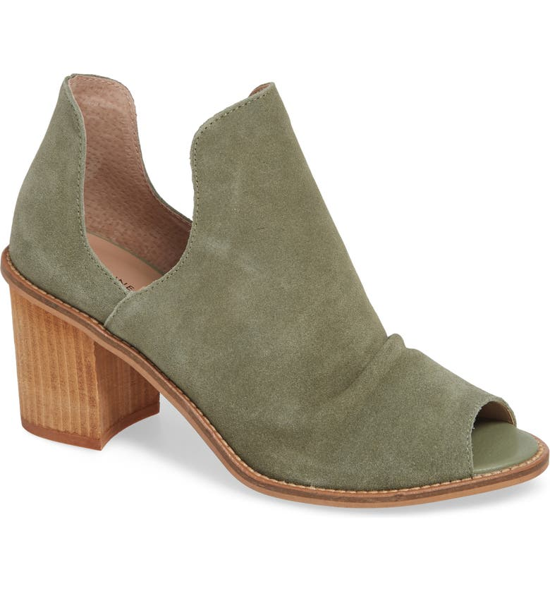 CHINESE LAUNDRY Carlita Peep Toe Bootie, Main, color, OLIVE SUEDE