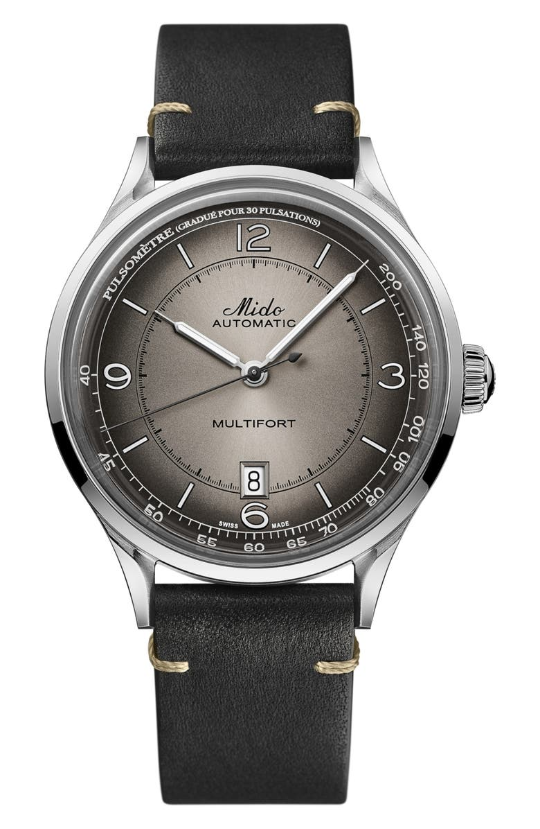 MIDO Multifort Pulsemeter Automatic Leather Strap Watch, 40mm, Main, color, BLACK/ SILVER