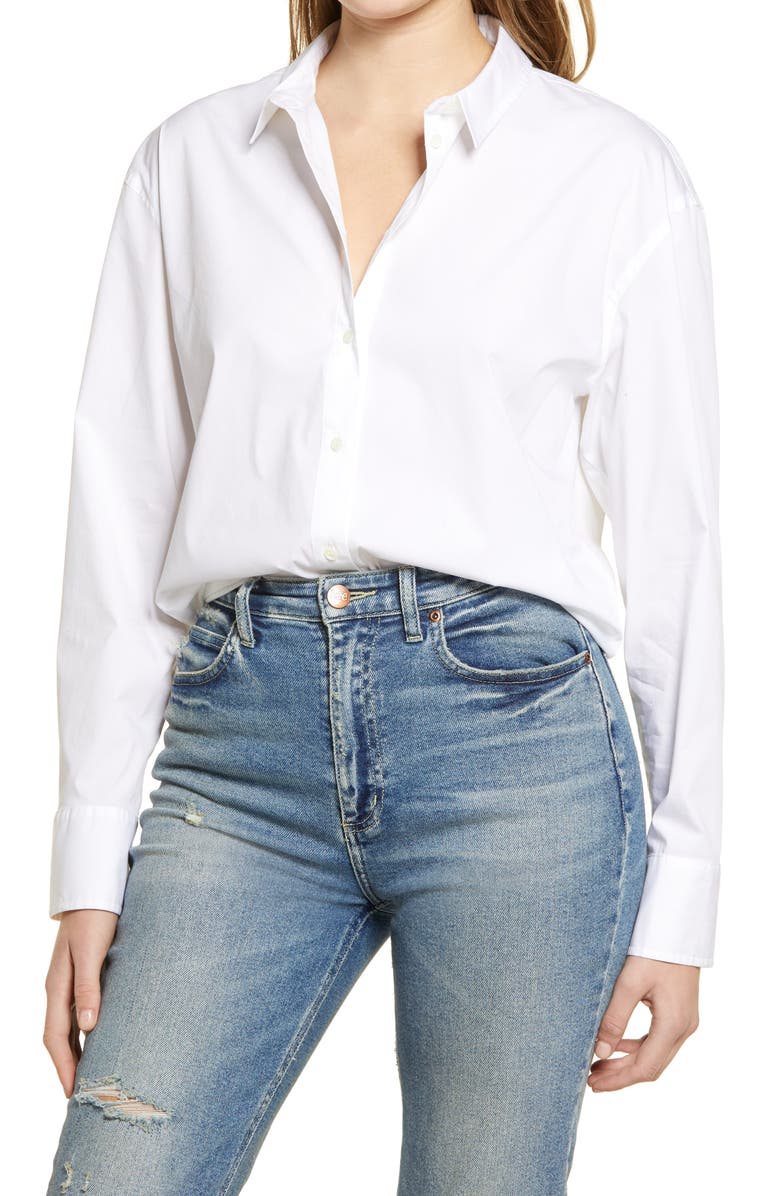 TREASURE & BOND Oversize Button-Up Shirt, Main, color, WHITE