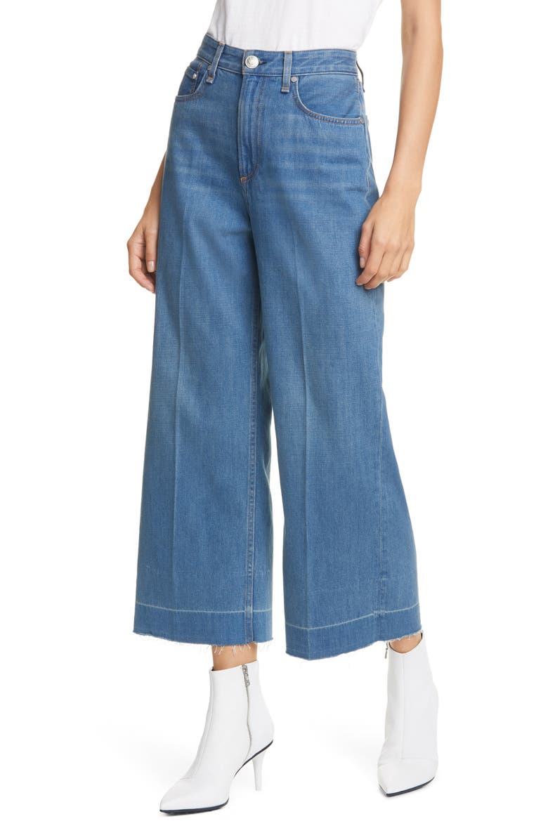 RAG & BONE Ruth Super High Waist Raw Crop Wide Leg Jeans, Main, color, 420